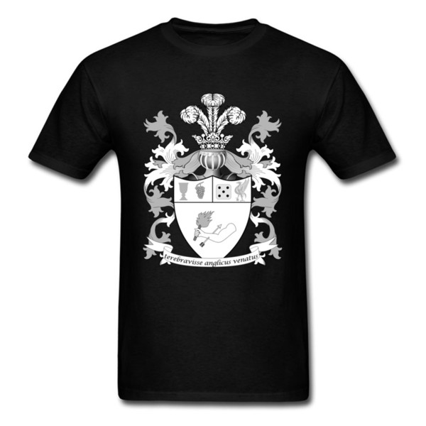 Plain Tshirt 2018 New Fashion Clothing For Men Large Print Coat Of Arms Pattern T Shirts Oversized Black White Mens T Shirt