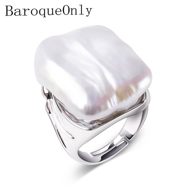 BaroqueOnly Adjustable Rings For Women 925 Sterling Silver Jewelry Natural White Baroque Pearl Jewelry women Gifts 22-25mm Y18102610