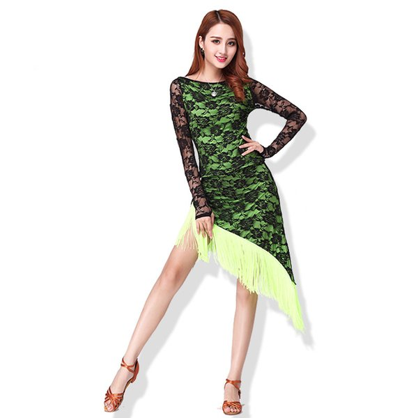 e76f75cb1d2 New Long Sleeve Latin Dance Dress For Women Adult Competition Performance Dress  Female Tassel Latin Dancing Skirts Lace Suit