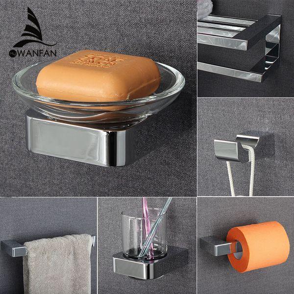 Metal Bathroom Series European Modern Towel Ring Toilet Paper Holder Cup Holder Robe Hook Bathroom Hardware FM-5700