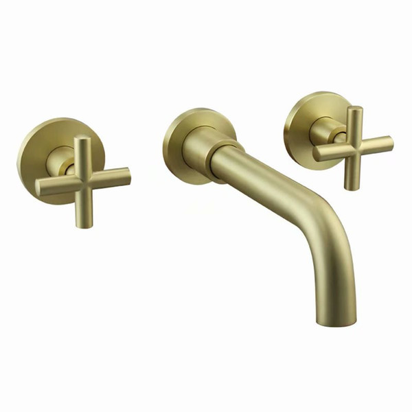 Rolya Burnished Golden Bathroom Faucet Dual Cross Handles Wall Mounting Solid Copper Basin Faucet Tap Set
