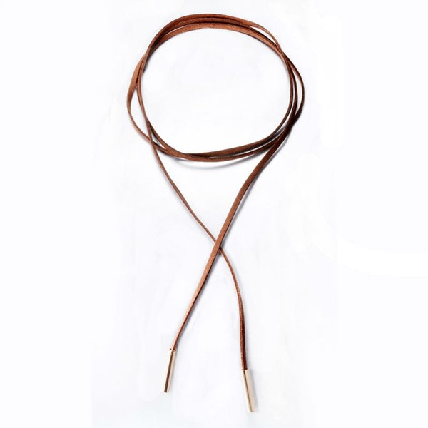 Brown color Leather Rope Velvet Choker Necklace for Women Tube Black Chocker collares mujer collar collier ras du cou