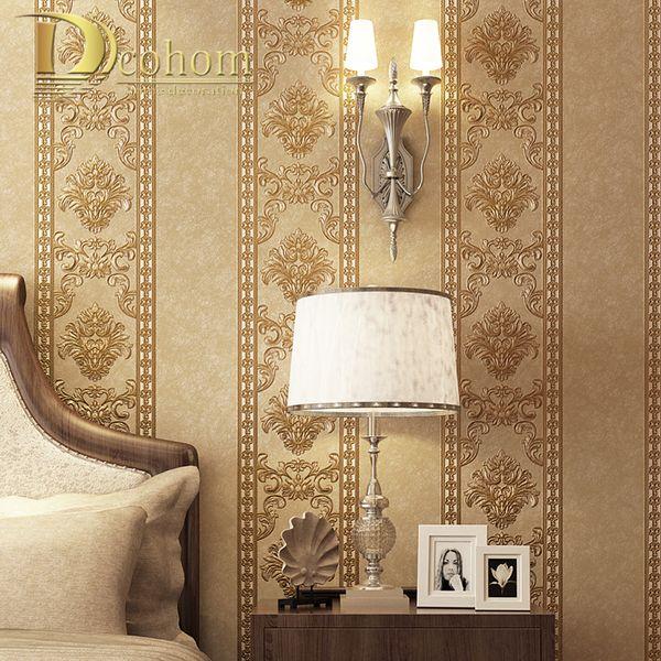 Luxus Europäischen Striped Damast Tapete 3D Non Woven Tapete Für Schlafzimmer Wohnzimmer Esszimmer Decor Tapetenrollen