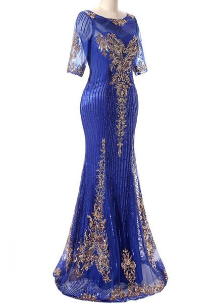 2019 Hot Sale Cheap Sheer Scoop Neck Memraid Long Bling Evening Dresses Short Sleeves Floor Length Prom Party Dresses Custom Made