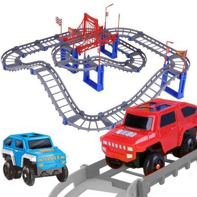 Electric rail car set children's electric toy car assembled small train 3-year-old boy roller coaster toy supply