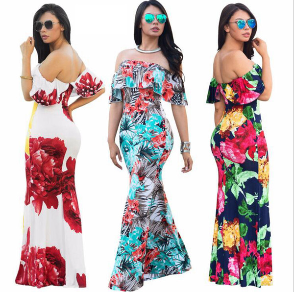 top popular Ruffles Off Shoulder Floral Dress Summer Party Bodycon Dress Short Sleeve Ruffles Boho Dress Casual Dresses 8 Colors OOA4901 2019