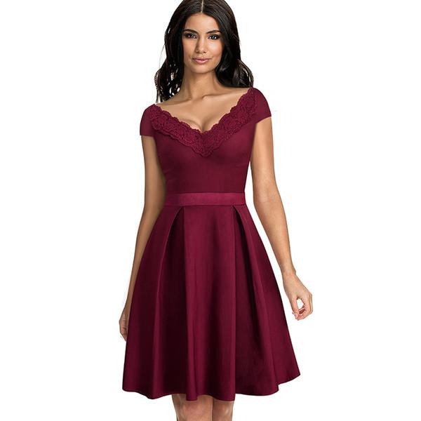 24cb5550c Elegante Vestidos de Renda Vermelha de Manga Curta Grande Vestido Profundo  Decote Em V Magro Mulheres