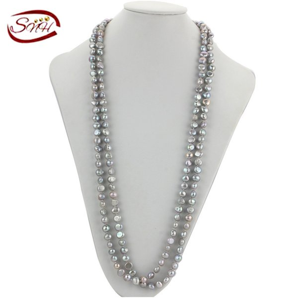 120cm grey color long chain freshwater pearl necklace handmade nugget baroque shape real natural genuine pearl necklace Y1892805
