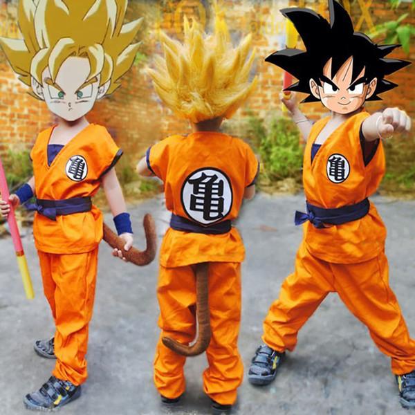 Unicórnio bonito Dragon Ball Z conjunto completo Terno para crianças crianças Goku traje cosplay Halloween roupas camisa + calça + cinto + pulseira + Cauda Y1891202