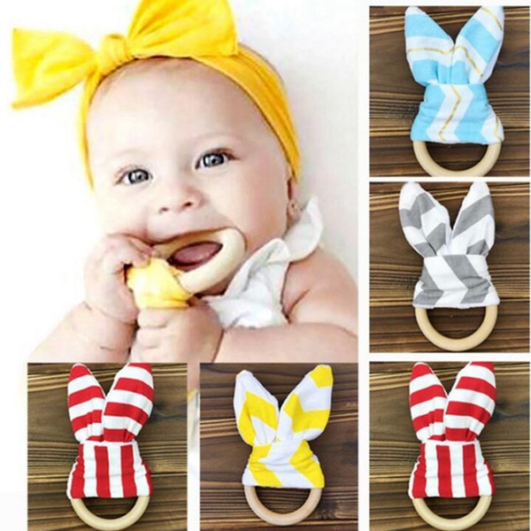 best selling Baby teether molar tooth ring hoop rabbit ears tooth rubber hand rattles teeth exercise toys
