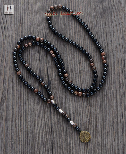 Men Necklace Quality 6MM Black Agate Wood Beads with Tree Pendant Mens Rosary Necklace Wooden Beads Mens jewelry
