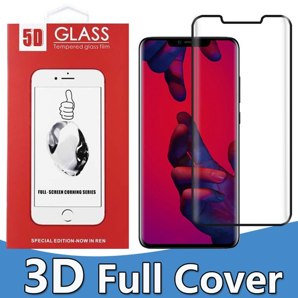 For Huawei Mate20pro Mate20lite Tempered Glass Full Screen color Protector Mate20 3D Curved Edge to Edge Full Cover With Package