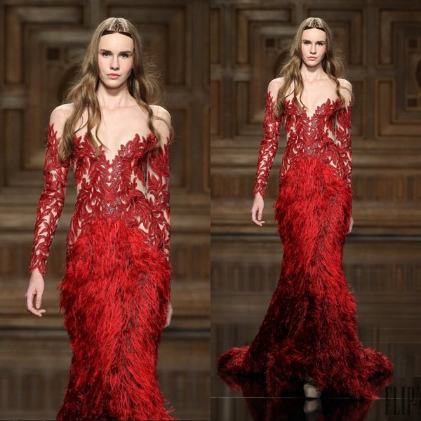 Zuhair Murad Evening Dresses Red Lace Appliques Feathers Beaded Jewel Neck Long Sleeve Mermaid Prom Dress Custom Made Formal Party Gowns