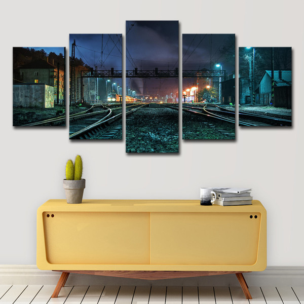 Canvas Painting Wall Art Home Decor 5 Pieces Beautiful Rustic Railroad Tracks Pictures For Living Room Modular HD Prints Poster