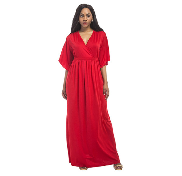 2018 New Fashion Plus Size Womens Long V Neck Kaftan Short Sleeve Maxi  Dress For Girls, Ladies And Pregnant Women Bridal Dress One Shoulder  Dresses ...