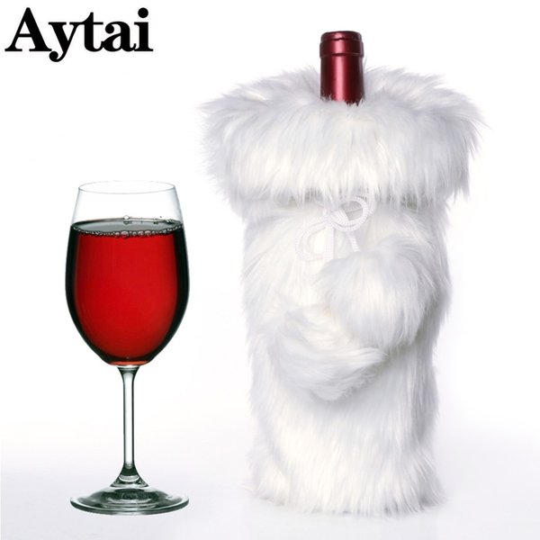 wholesale White Faux Fur Wine Bottle Cover Modern Christmas Ornaments Gift Bag Holder Xmas Decoration For Home Party Table Deor