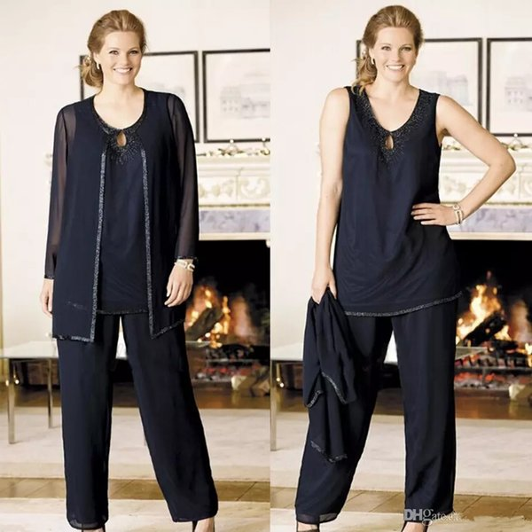 Navy Blue Mother Of The Bride Pant Suits With Jacket Beads Plus Size Wedding Guest Dresses Mothers Outfit Mother of the Groom Suits