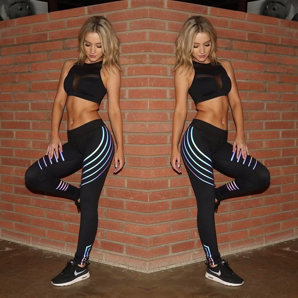 New High Waist Push Up Compressed Butt Lift Leggings Streak Printed Casual Workout Fitness GYM Elastic Reflective Yoga Pants