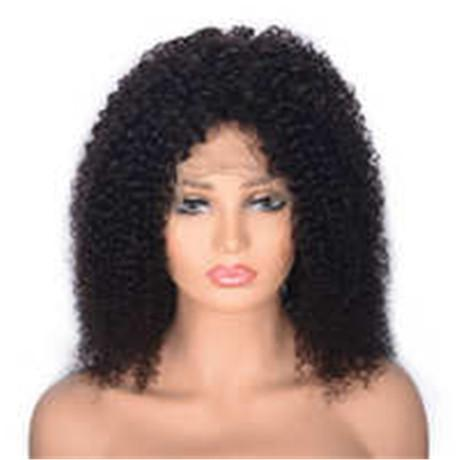 Glueless Kinky Curly Lace Front Human Hair Wig for African American Peruvian Virgin Hair Wig Medium Cap Ping