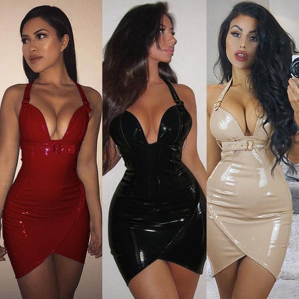 New Sexy Women Shiny PVC Faux Leather Clubwear Sexy Deep V Halterneck Buckle Straps Bodycon Club Mini Party Dress Vestido