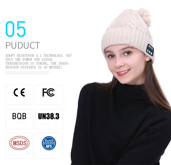 Fashion Designer Cable Knitted Bluetooth Pom Beanies For Adults Mens Womens Wireless Headphones Skull Rib Caps Bluetooth Speaker Winter Hat