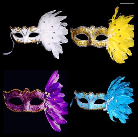 Beautiful Painting Gold Powder Crystal Pearl Lace Feather Mask