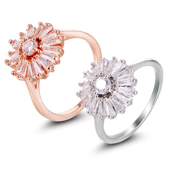 Bulk Fashion Jewelry China Simple Design Engagement Ring cz Diamond Flower Ring