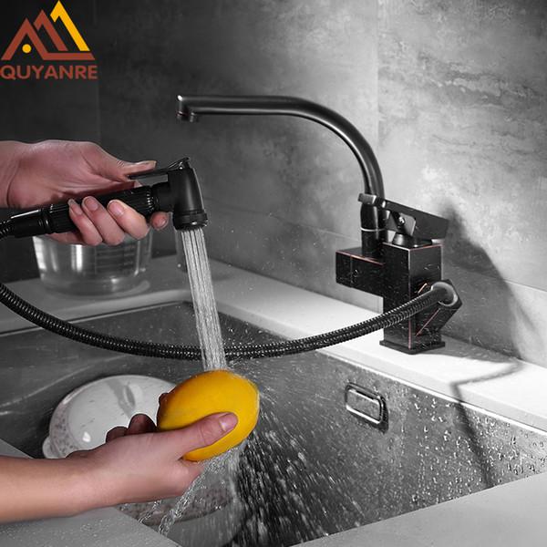 wholesale Black Orb Pull Out Kitchen Faucet Single Handle Mixer Tap Dual Spout 360 Swivel Kitchen Faucet Solid Brass Faucet