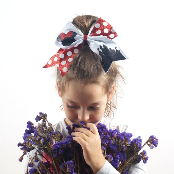 3 Pièces 7''New Large Cheer Bow Cheveux Cheerleading Bow Dance Bravo Bandes De Cheveux En Caoutchouc Pour Filles Queue De Cheval