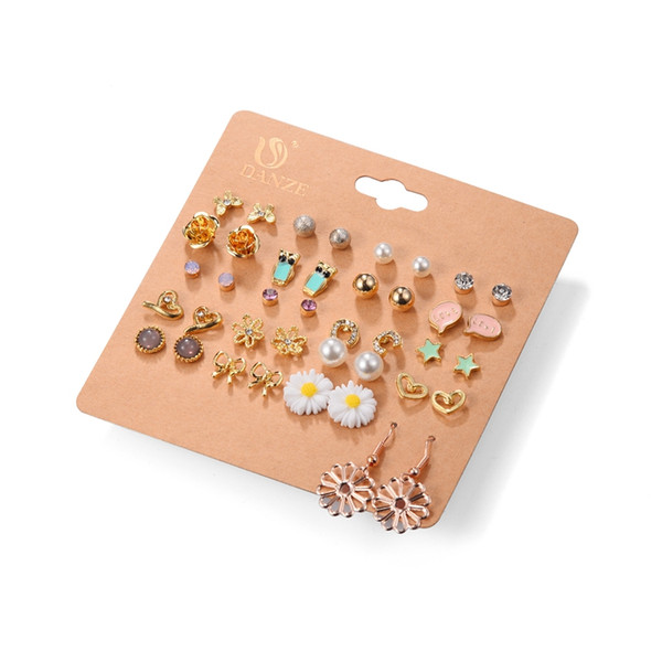 20 Pairs/lot Punk Fashion Stud Earrings Set For Women Elegant Mixed Crystal Flower Bow metal Ball Earings Jewelry 5 Styles