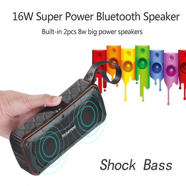 16W Super Bass Outdoor Bluetooth Speaker 4500mAH Power Bank Portable 3D Stereo Wireless Bicycle Riding Sport Speaker with Mic