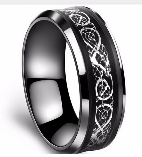 316L Stainless steel Ring in black 18k gold plated Carbon Fiber Ring Dragon rings for men 2822