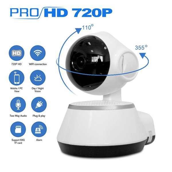 Telecamera di sicurezza domestica IP Wireless Smart Telecamera WiFi 720P Telecamera CCTV a infrarossi Micros Slot SD Microfono di supporto P2P