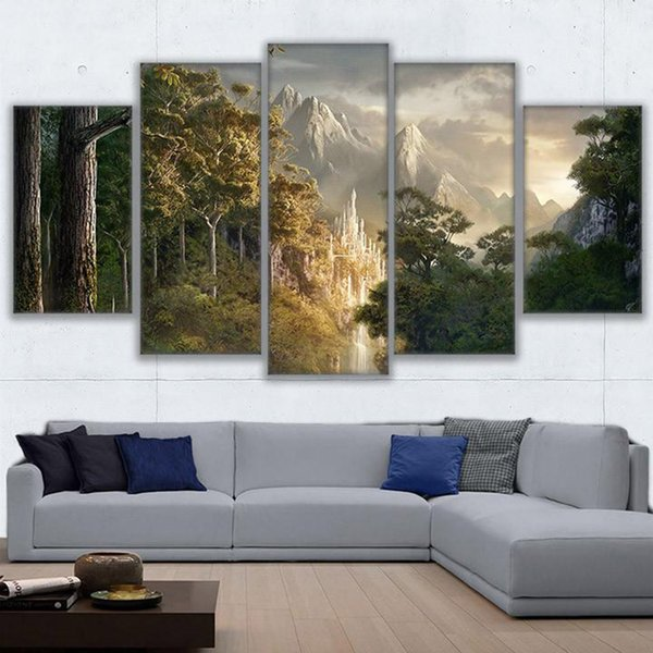5 pièce toile Lord Of The Rings Paysage Toile photo Animal peinture salle décor imprimer affiche wall art
