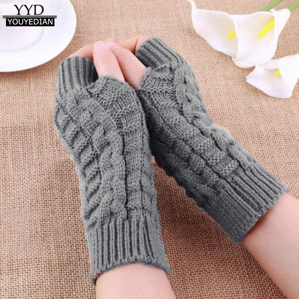 Women Gloves Hand Warm Winter Gloves Women Arm Crochet Fashion Half Finger Knitting Mitten Fingerless Gloves,Gants Femme*1018 D18110806