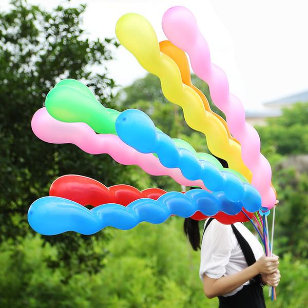 100 teile / los Schraube Twisted Latex Luftballons Spirale Verdickung Lange Airballoon Party Supplies Streifen Form Luftballons Dekoration Aufblasbare Spielzeug.