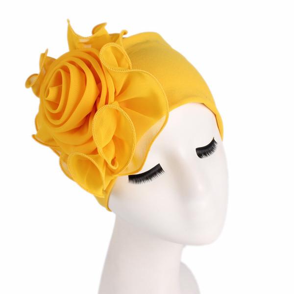 Donne Elasticizzate Berretti con Big Flower Capelli Perdita Cap Turbante africano Boho Head Wrap Hijab Wedding Party Cap Turbanti mujer