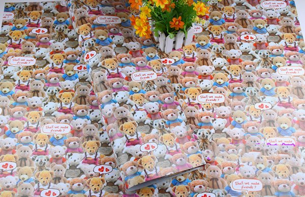 Gift Wrapping Paper Printing Cartoon Bear Gift Wrap DIY Paper Handicraft Birthday Gift Packaging Festive & Party Supplies 75*52cm 100PCS