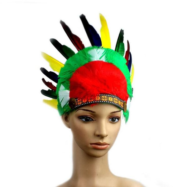 Women Girls Indian Feather Headband Peacock Feather Hair Accessories Festival Party Headdress Hair Decorations