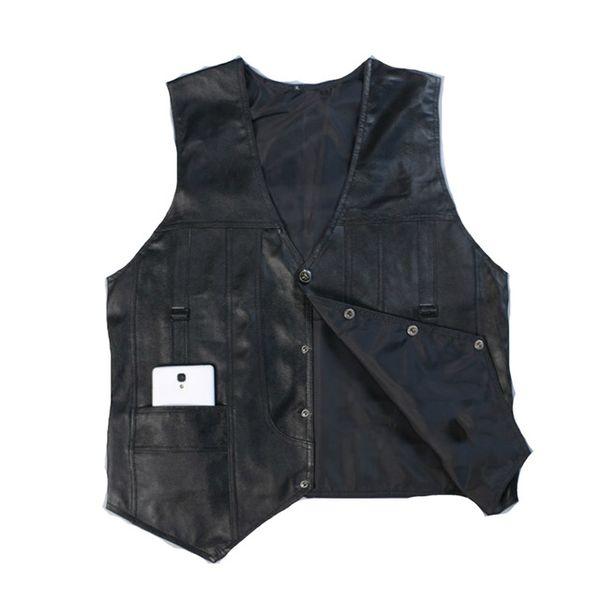 Black Sheepskin Vest Men Genuine Leather Vest Man Jacket Sleeveless Waistcoat Male High Quality Business Clothing