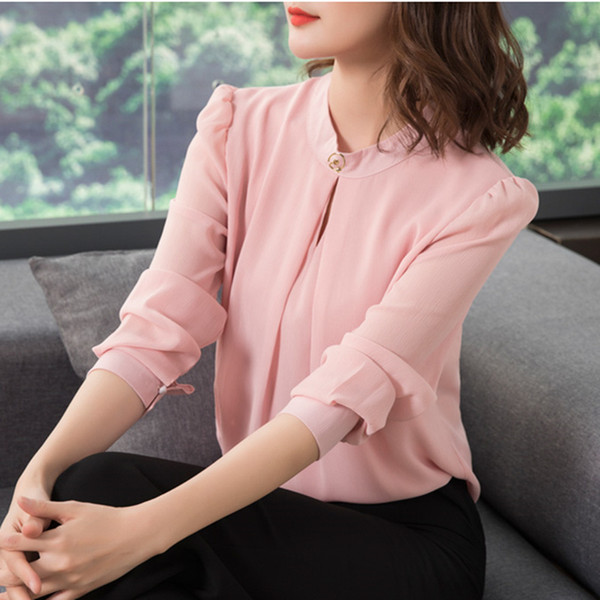 a5797a4d4de 2018 Spring Autumn Chiffon Blouse Womens Tops and Blouses Long Sleeve  Casual Female O-Neck Work Wear Solid Color Office Shirts