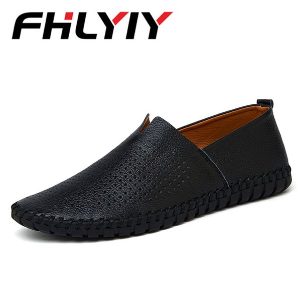 Men'S Loafers Driving Shoes Summer Slip-On Air Hole Leather Flat Breathable Casual Handmade Flats Shoes Zapatos Hombre