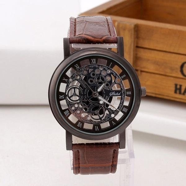 8471288393f4 Negocio de la moda Esqueleto Reloj Hombres Grabado Hueco Reloj Hombre  Vestido Cuarzo Reloj de pulsera