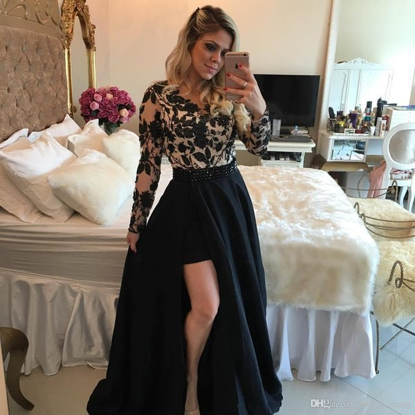 2019 New Black Over Nude Evening Dresses Jewel with Sheer Long Sleeves Lace Appliques Bodice and High Side Split Beaded Belt Prom Gowns 92