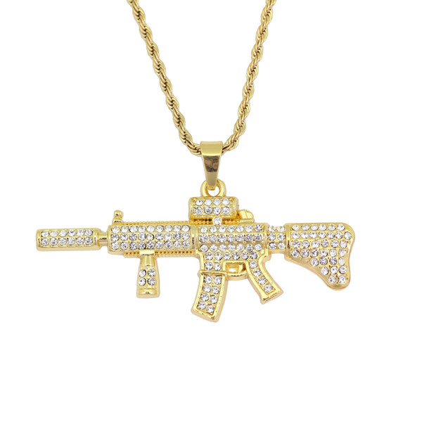 Hip Hop Men's Gun Shape Pendant Necklace Fashion Jewelry with 3mm 24inch rope chain N884B
