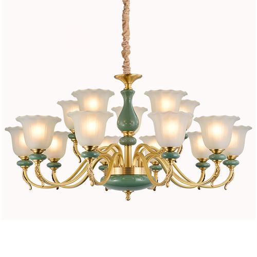 European style chandelier lamp retro copper luxury hotel engineering restaurant living room lights Macarons copper art pendant lighting