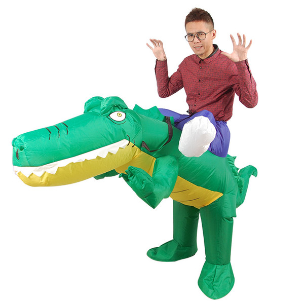 Inflatable Crocodile Costume Ride on Alligator Animal Suits Blow Up Adult Fancy Dress for Halloween Carnival mascot