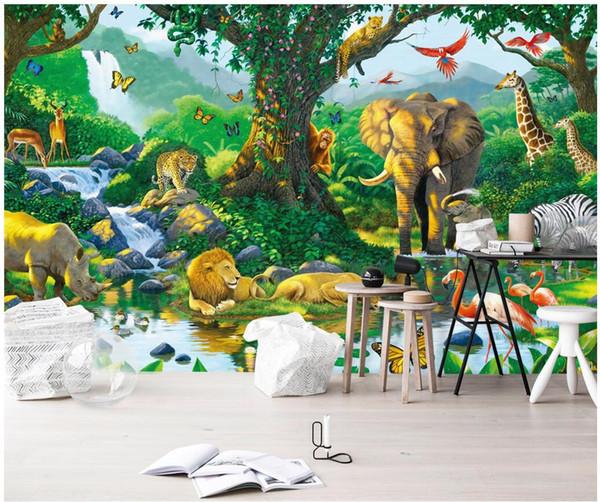 3d wallpaper custom photo mural Animal world monkey elephant lion Home decor background painting 3d wall murals wallpaper for walls 3 d