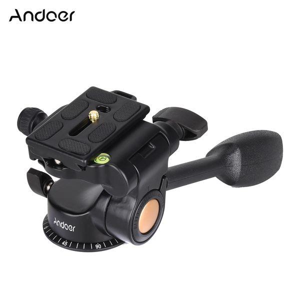 Andoer 3-way Fluid HeadBall Tripod Ball Head Aluminum Alloy with Quick Release Plate for DSLR Camera Tripod Monopod