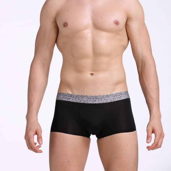Men's Underwear Seamless Thin Ice Silk Transparent U Pouch Design Breathable Wide Edge Cotton Lining Boxers 3pcs/lot free shipping